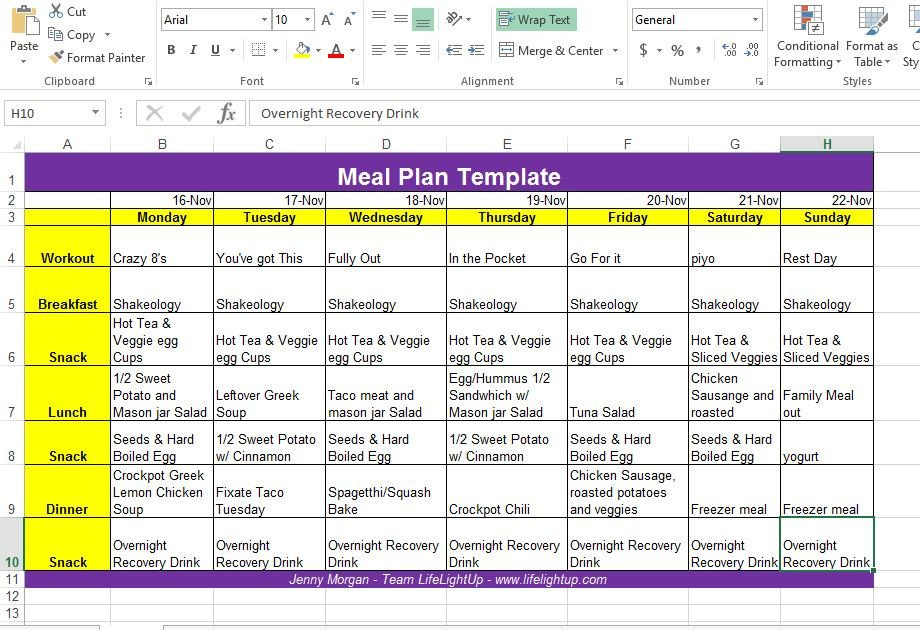 Meal Plan Template Excel Life Light Up How to Create A Weekly Meal Plan