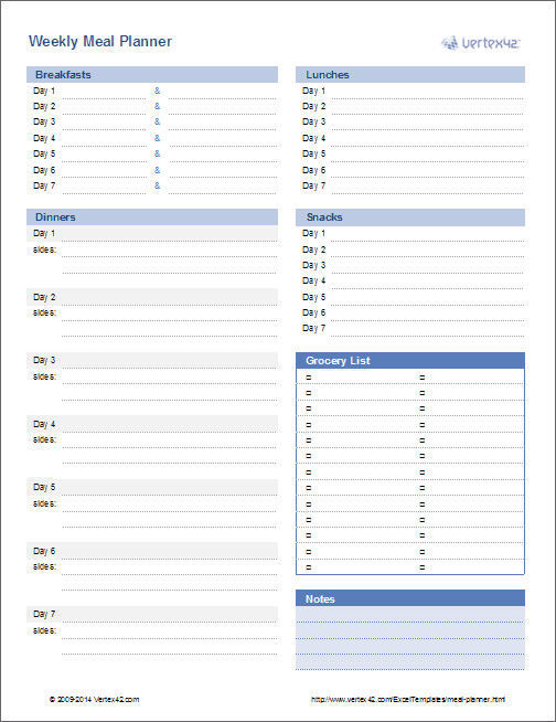 Meal Plan Template Excel Meal Planner Template Weekly Menu Planner