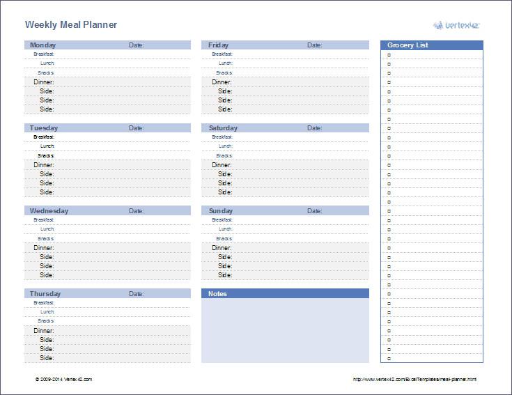 Meal Plan Template Excel Meal Planner Weekly Menu Planner Template