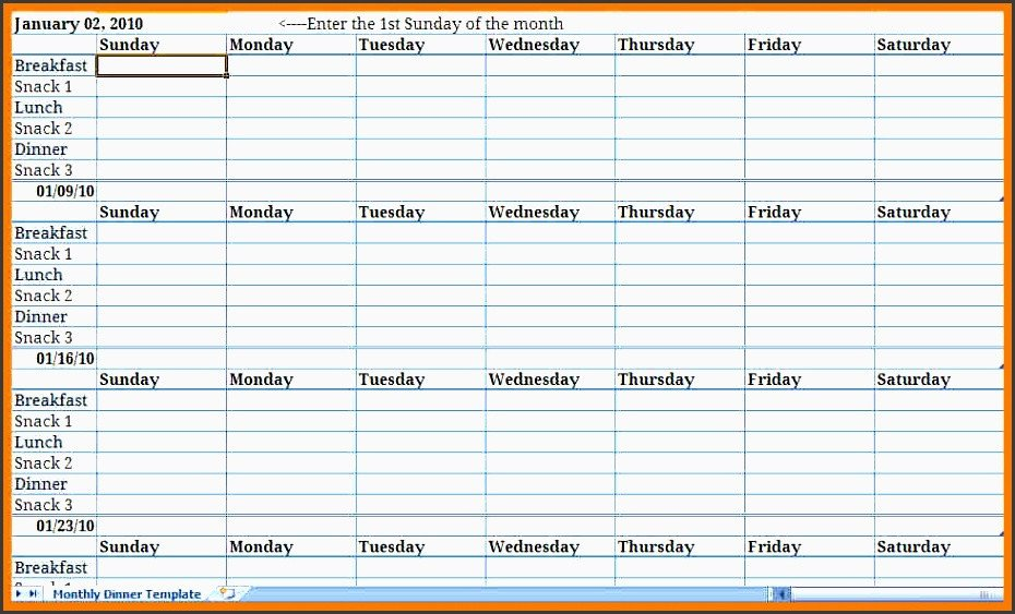 Meal Plan Template Excel Monthly Meal Plan Excel Template Archives