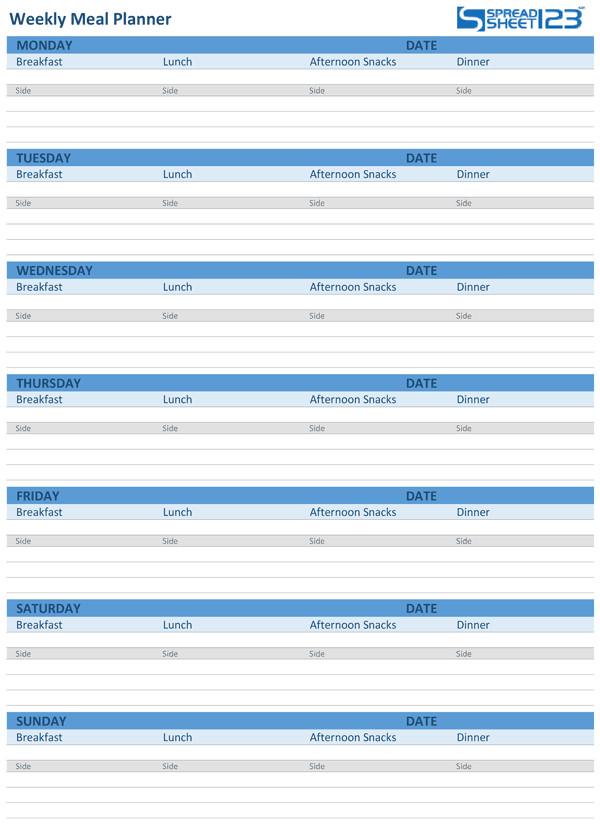Meal Plan Template Excel Printable Meal Planner and Weekly Menu Planner Templates