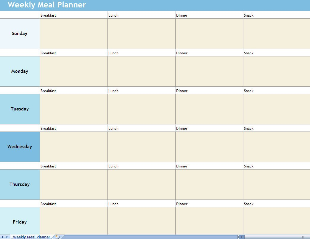 Meal Plan Template Excel Weekly Meal Planner Excel Spreadsheet