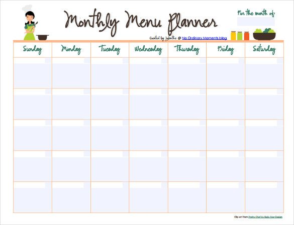 Meal Planning Calendar Template 10 Monthly Menu Templates Psd Pages Docs Ai