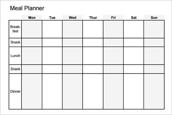 Meal Planning Calendar Template 18 Meal Planning Templates Pdf Excel Word
