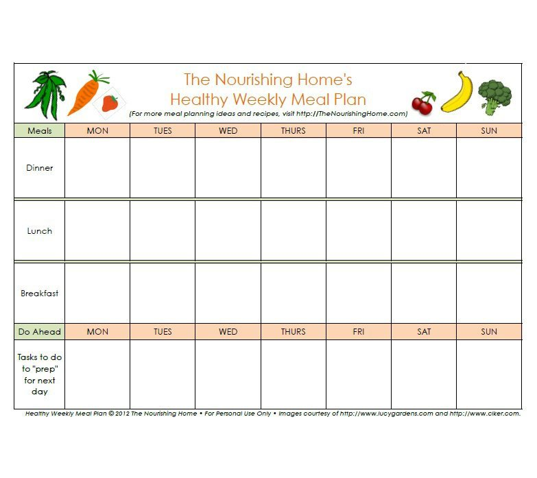 Meal Planning Calendar Template 40 Weekly Meal Planning Templates Template Lab