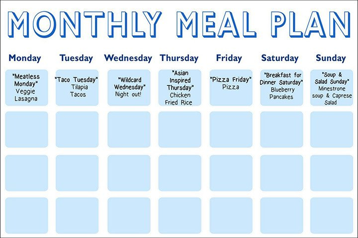 Meal Planning Calendar Template Daphne Oz S Meal Planning Calendar