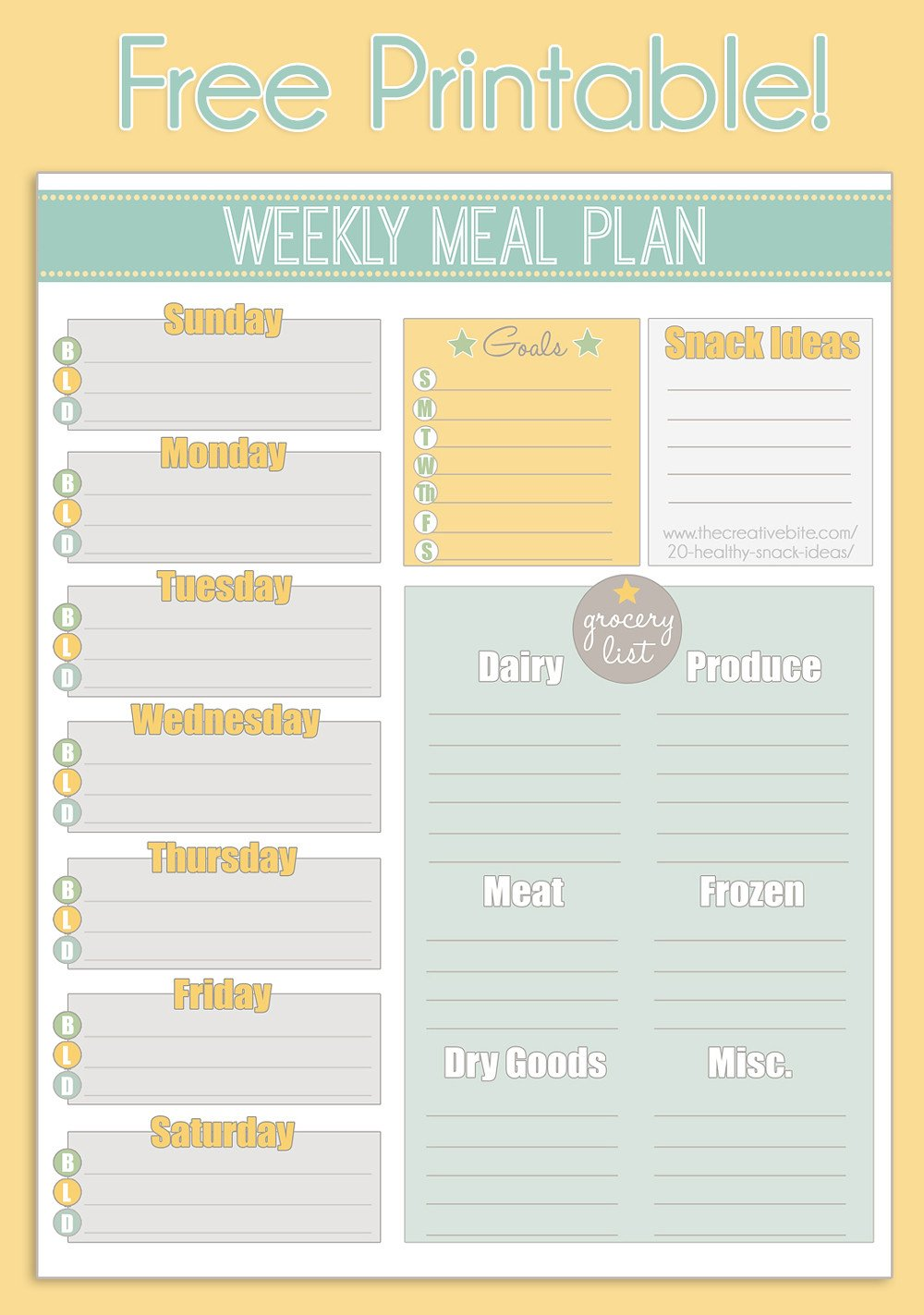 Meal Planning Calendar Template Free Printable Weekly Meal Planner Calendar