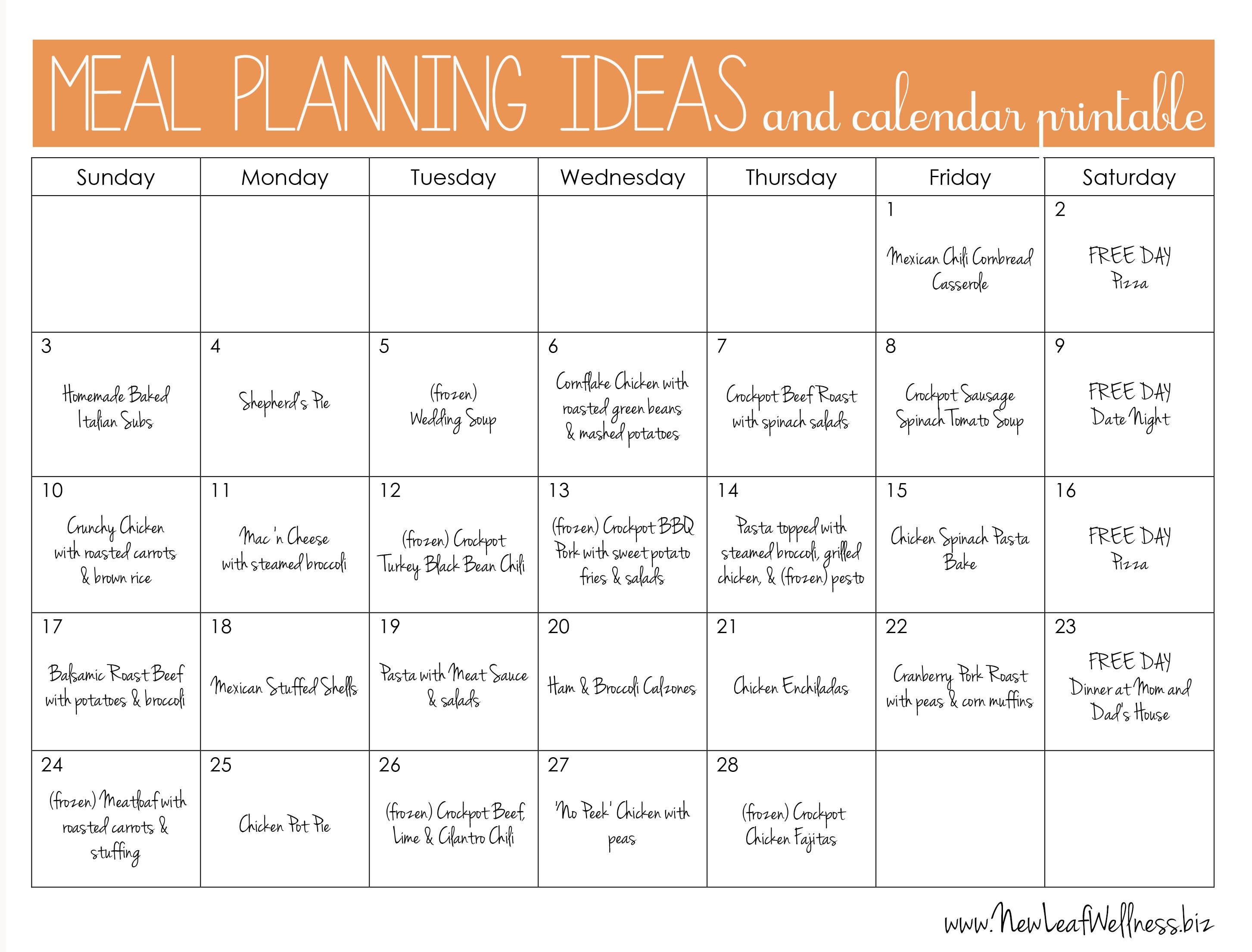 Meal Planning Calendar Template Meal Plan for Two Weeks and Only Grocery Shop once