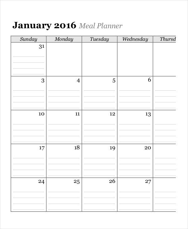 Meal Planning Calendar Template Monthly Calendar 13 Free Word Pdf Documents Download