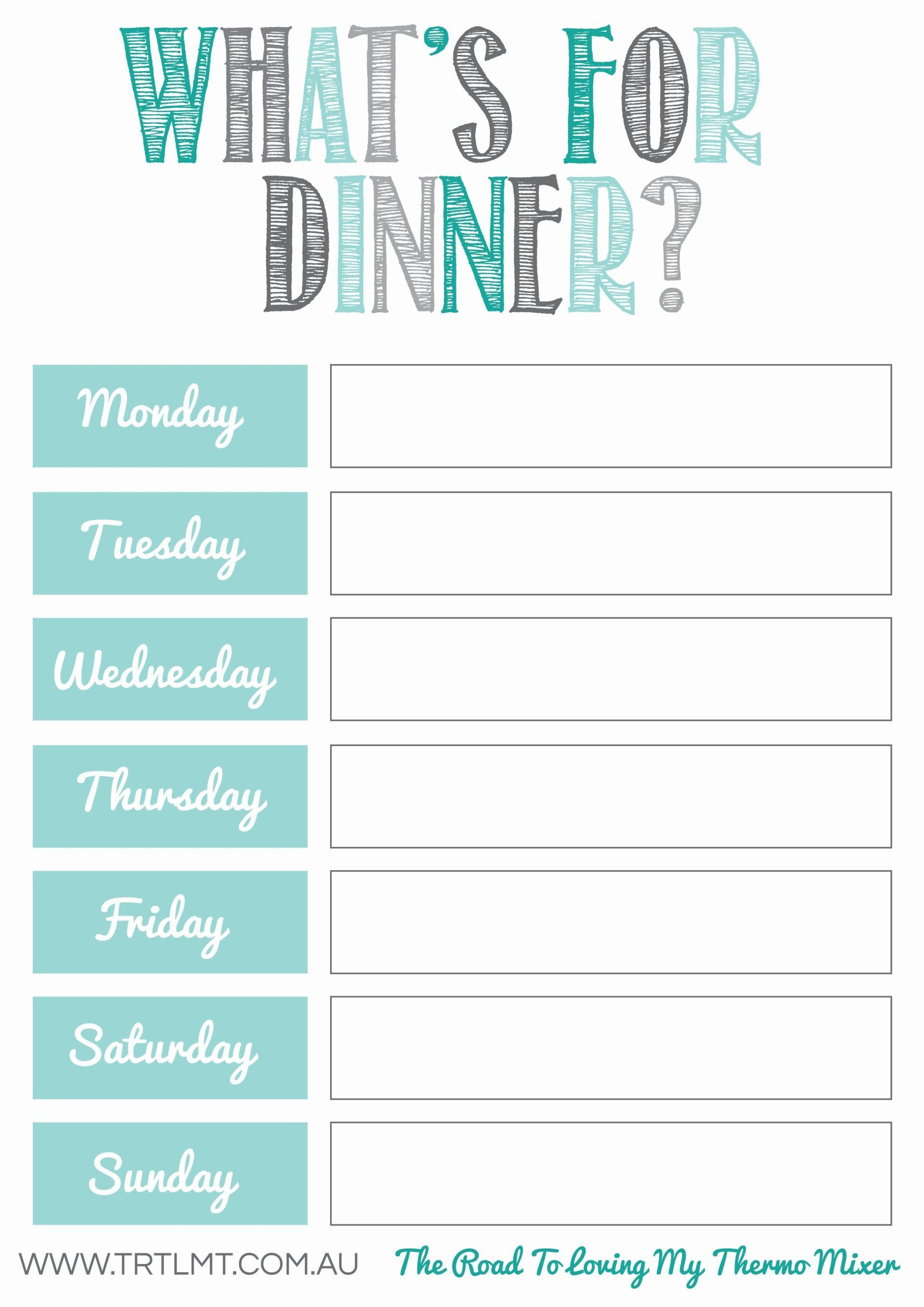 Meal Planning Calendar Template What S for Dinner 2 Fb organization
