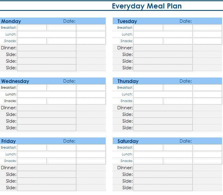 Meal Planning Template Excel Daily Meal Planner My Excel Templates