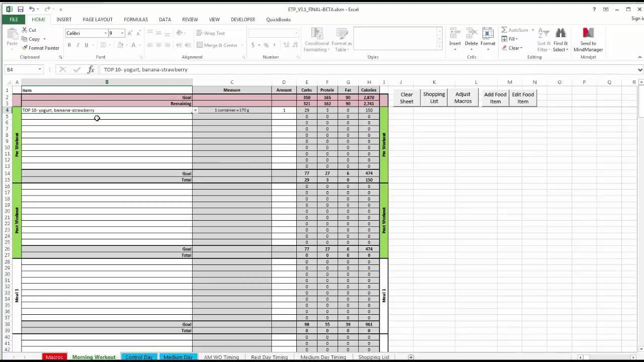 Meal Planning Template Excel Etp Meal Planning Spreadsheet V3 0
