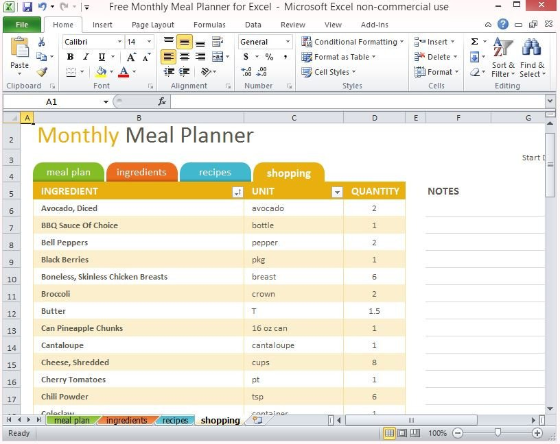 Meal Planning Template Excel Free Monthly Meal Planner for Excel