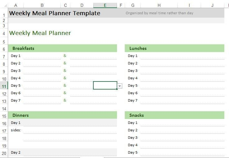 Meal Planning Template Excel Weekly Meal Planner