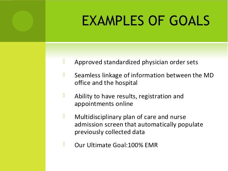 Measurable Nursing Goals Example Emr Implementation