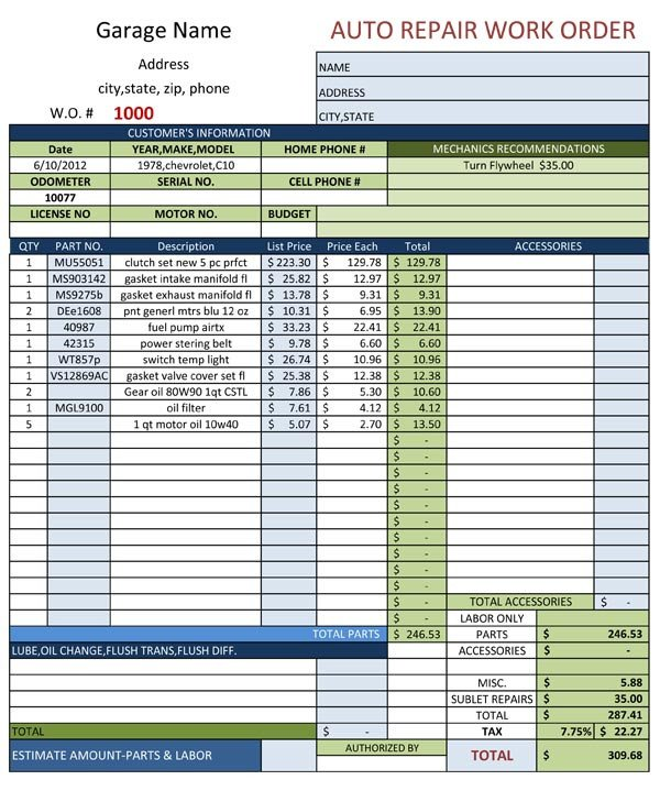 Mechanic Work order Template Auto Repair Work order Template
