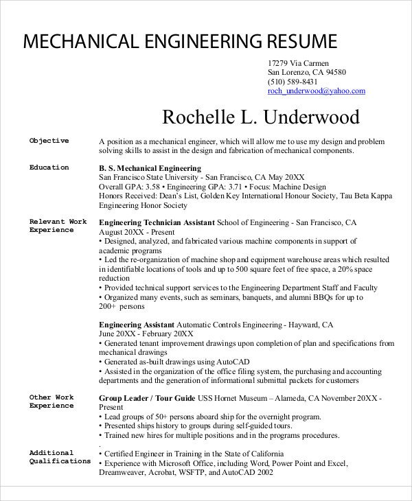 Mechanical Engineer Resume Template 54 Engineering Resume Templates