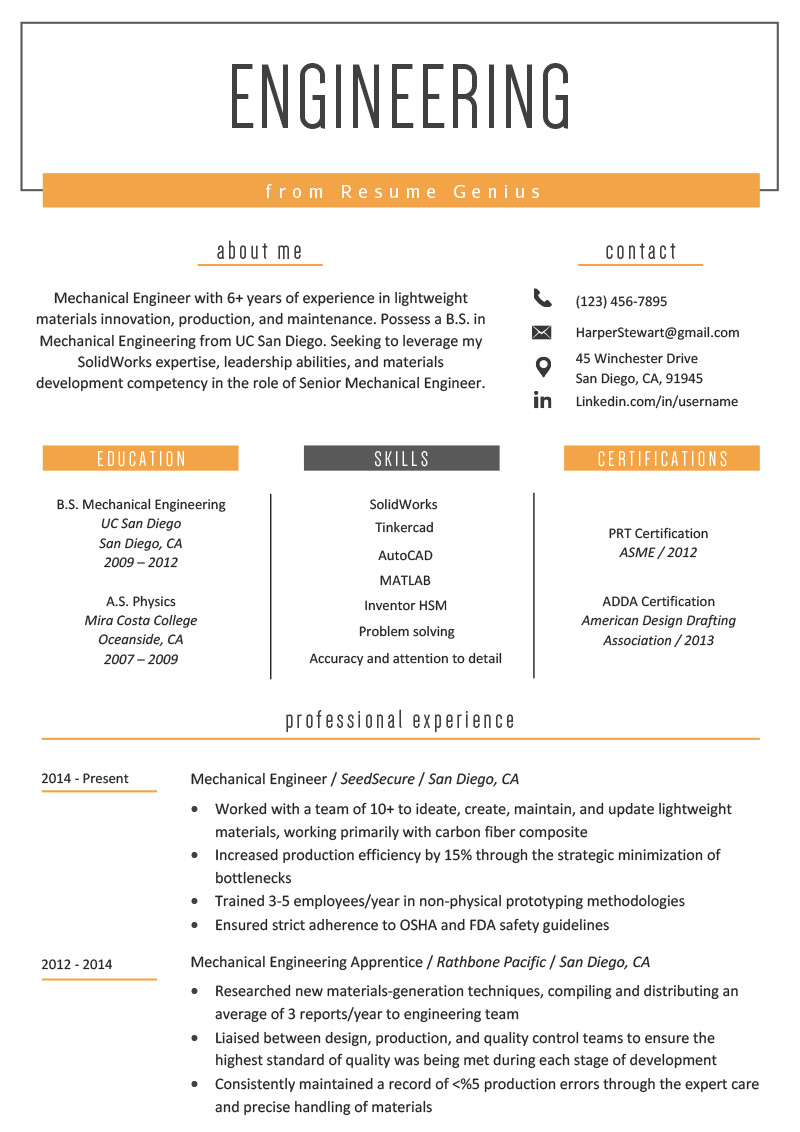 Mechanical Engineer Resume Template Engineering Resume Example & Writing Tips
