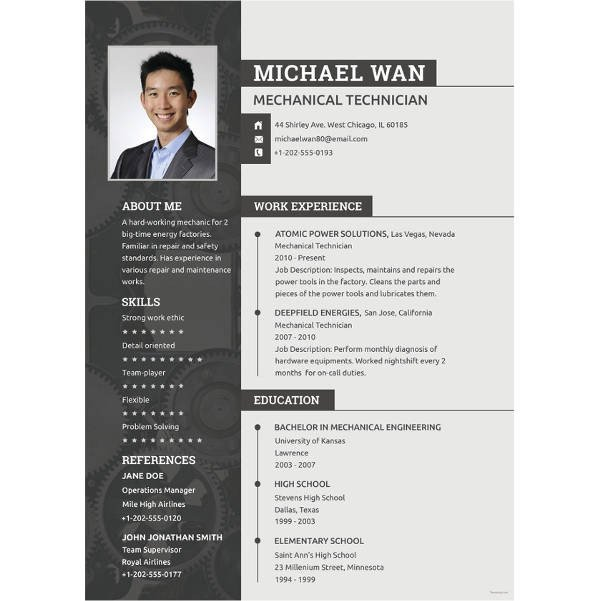 Mechanical Engineer Resume Template Job Resume for Mechanical Engineers