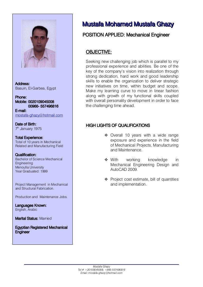 Mechanical Engineer Resume Template Mechanical Engineer Cv