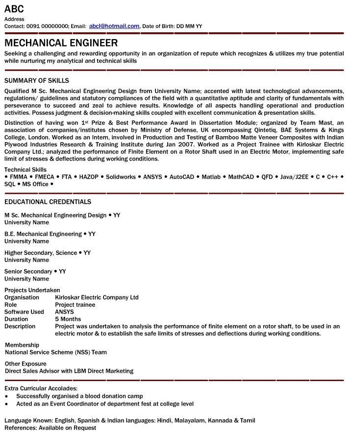 Mechanical Engineer Resume Template Mechanical Engineer Resume for Fresher Mechanical