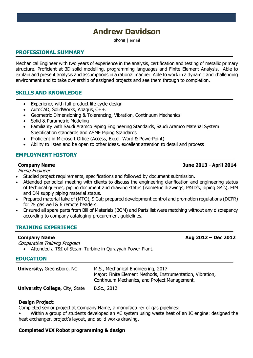 Mechanical Engineer Resume Template Mechanical Engineer Resume Samples and Writing Guide [10
