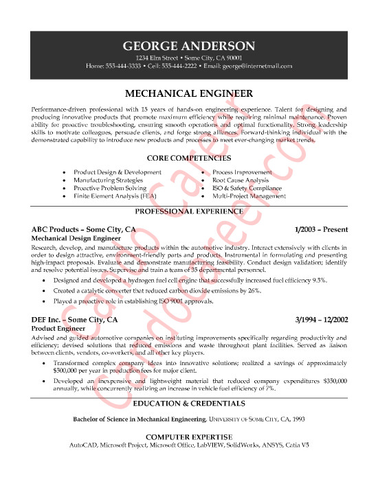 Mechanical Engineer Resume Template Mechanical Engineer Sample Resume by Cando Career Coaching