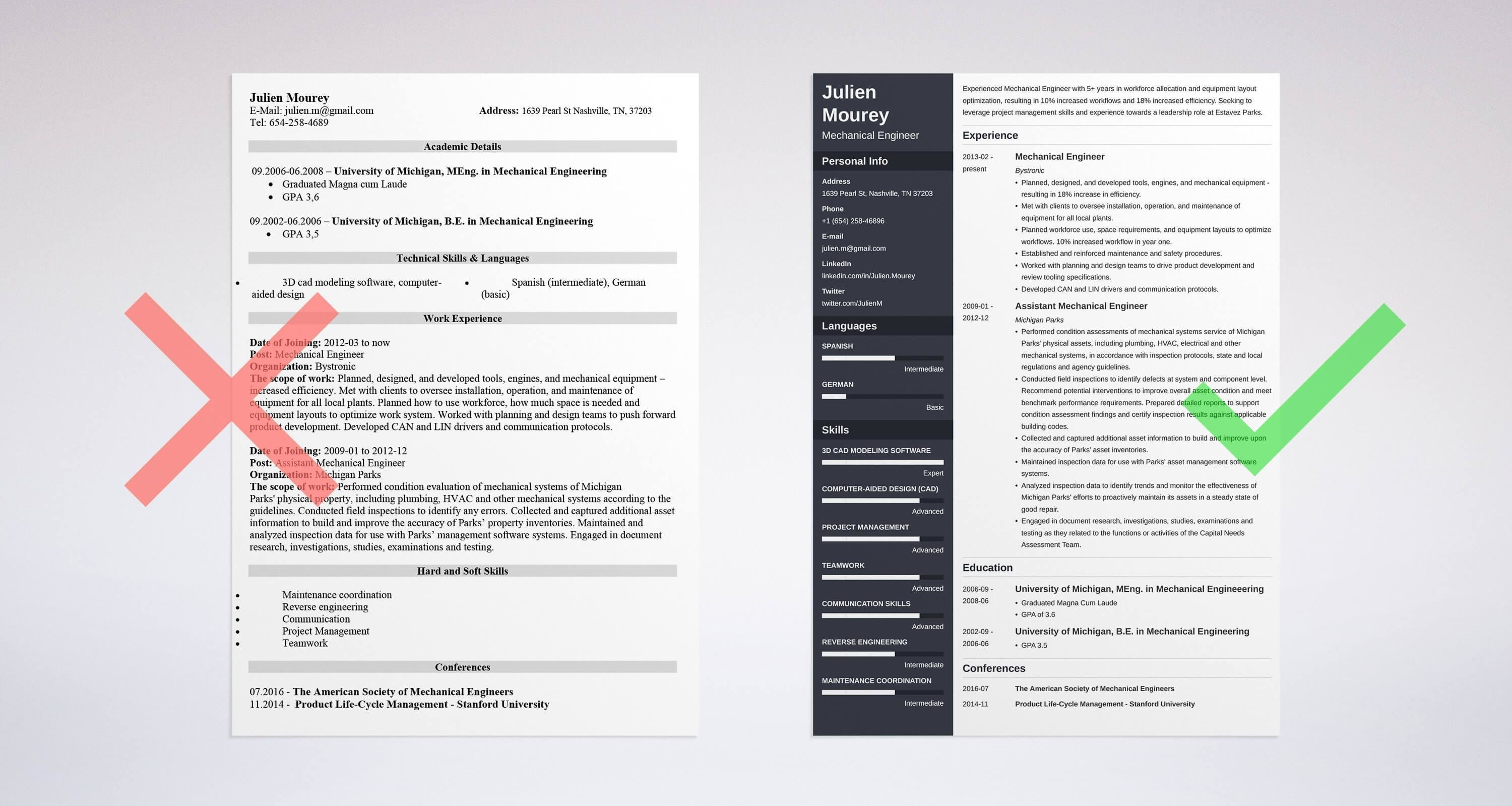 Mechanical Engineer Resume Template Mechanical Engineering Resume Sample & Guide [20 Examples]