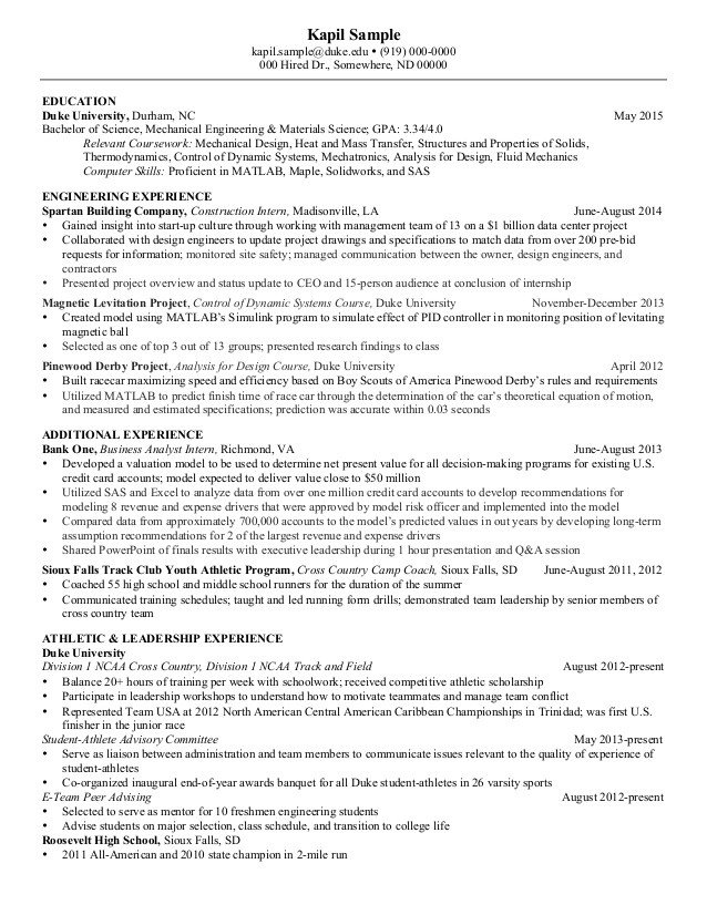 Mechanical Engineer Resume Template Resume Mechanical Engineering Senior