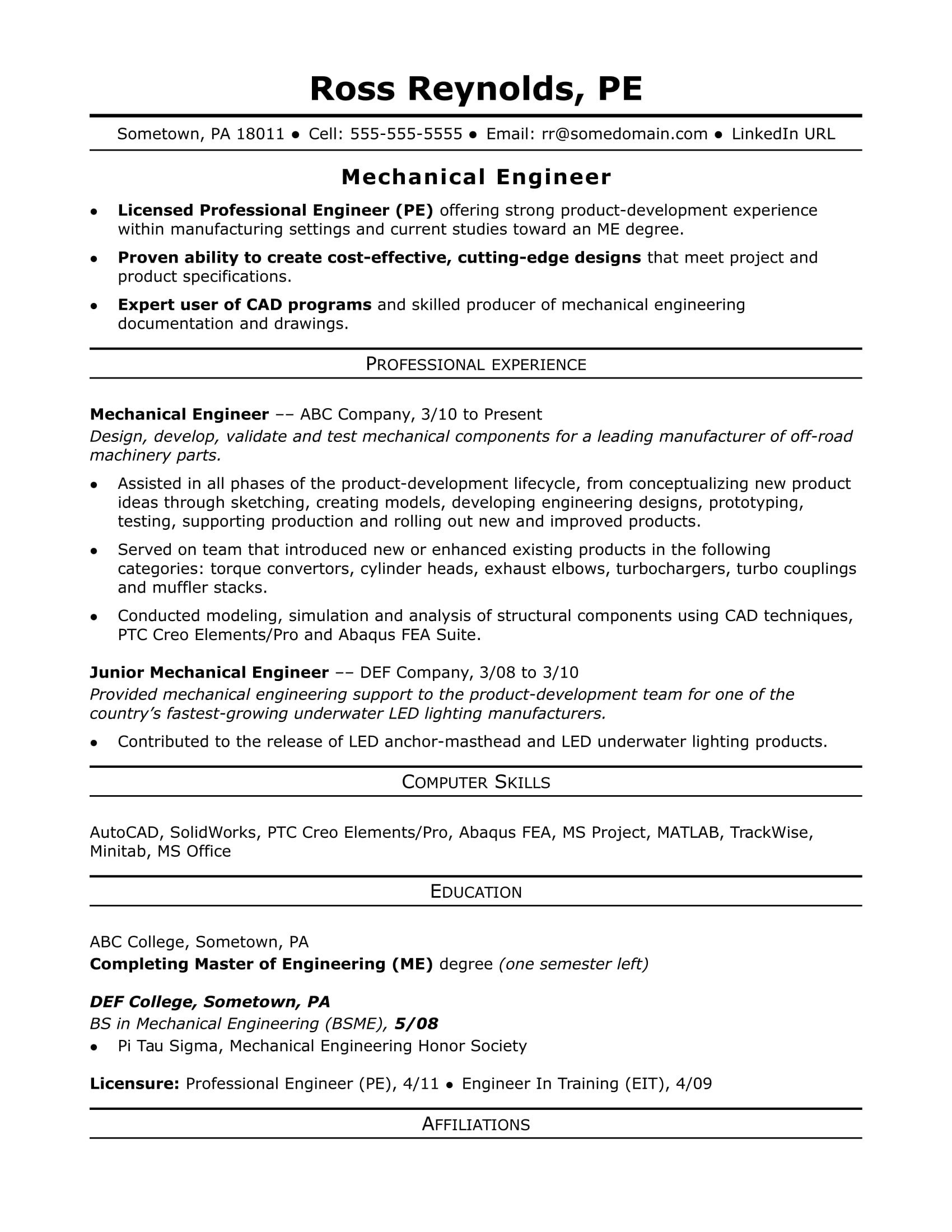 Mechanical Engineer Resume Template Sample Resume for A Midlevel Mechanical Engineer
