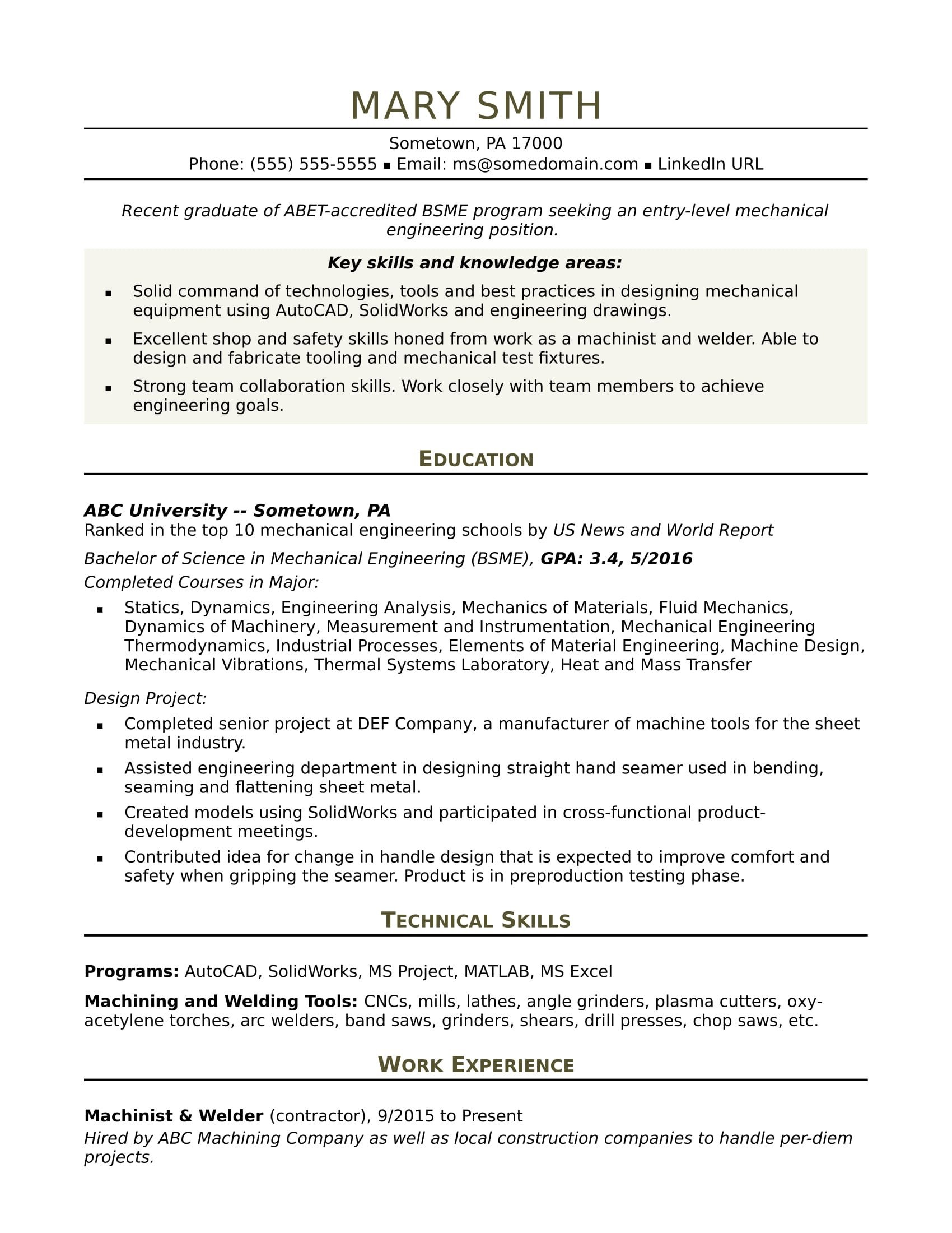 Mechanical Engineer Resume Template Sample Resume for An Entry Level Mechanical Engineer