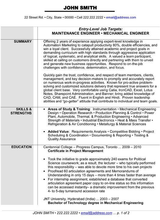 Mechanical Engineering Resume Template Maintenance or Mechanical Engineer Resume Template Want