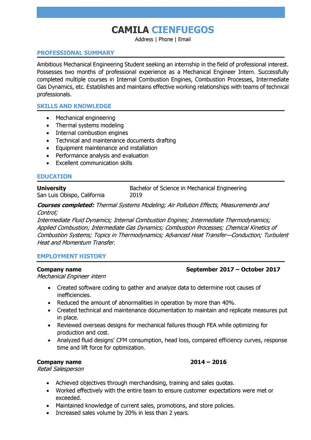 Mechanical Engineering Resume Template Mechanical Engineer Resume Samples and Writing Guide