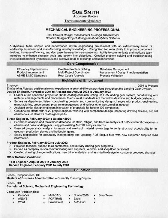 Mechanical Engineering Resume Template Mechanical Engineering Resume Example