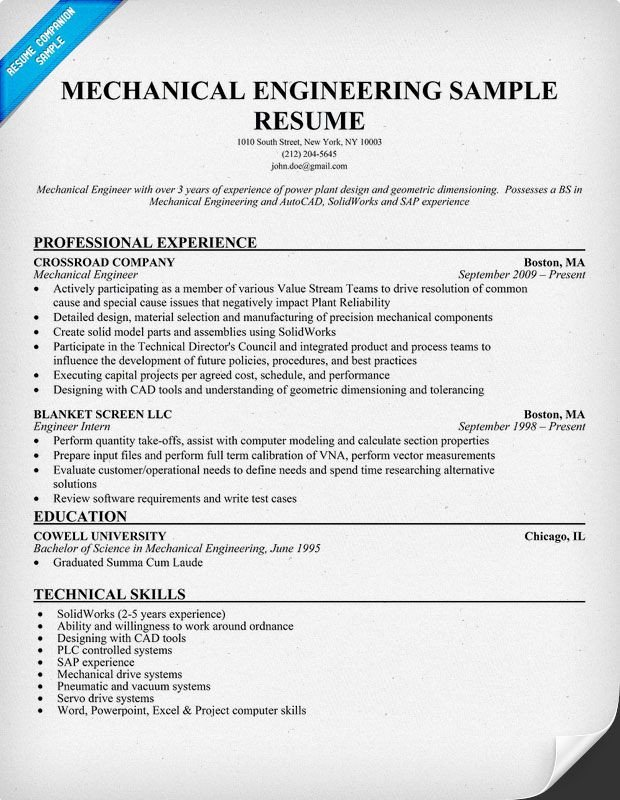 Mechanical Engineering Resume Template Mechanical Engineering Resume Sample Resume Panion