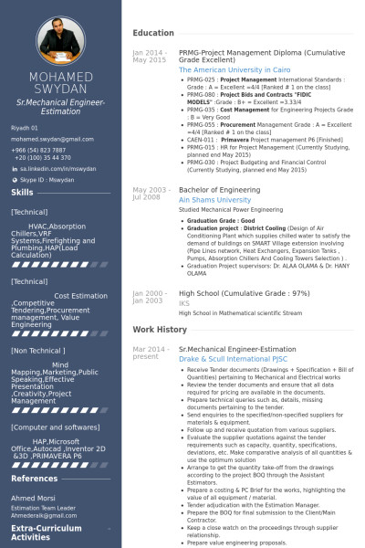 Mechanical Engineering Resume Template Mechanical Engineering Resume Templates