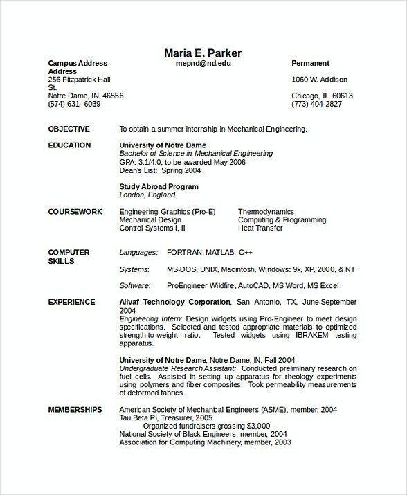 Mechanical Engineering Resume Template software Engineering Manager Resume