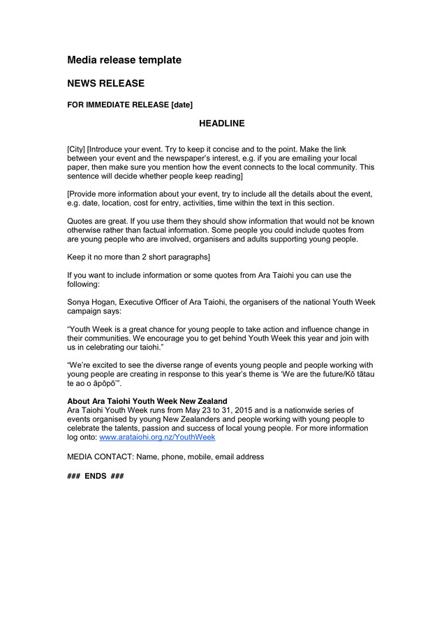 Media Release form Template Media Release Template In Word and Pdf formats