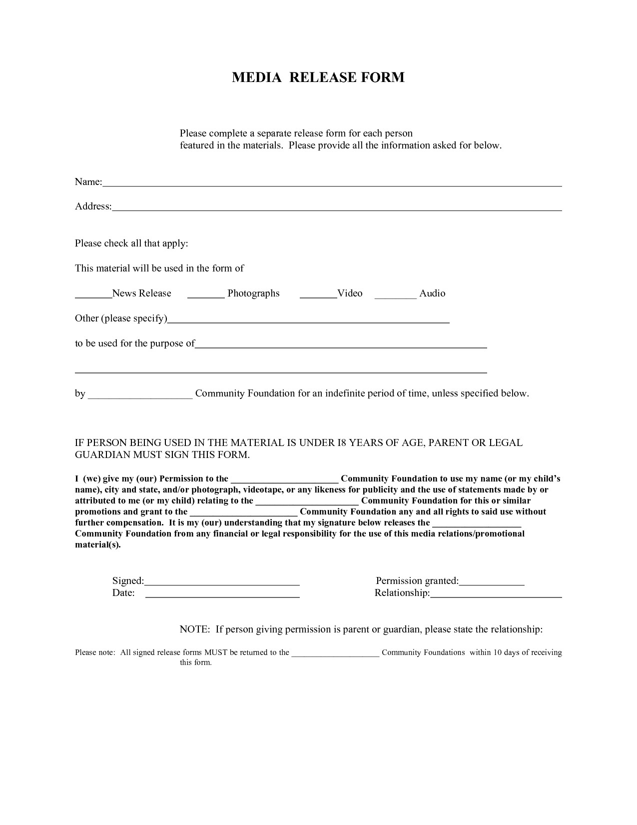 Media Release form Template Press Release form – Emmamcintyrephotography