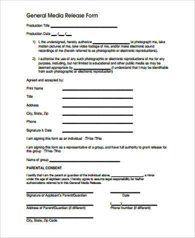 Media Release form Template Sample Media Release form 10 Examples In Word Pdf