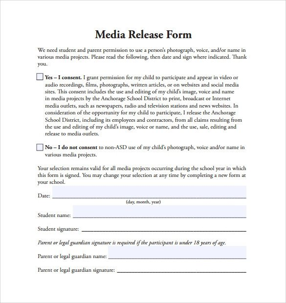 Media Release form Template Sample Media Release form 6 Download Free Documents In