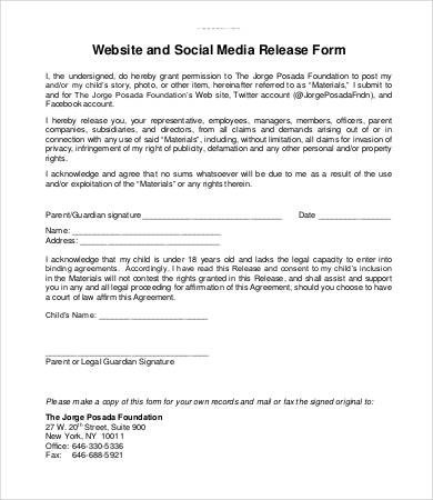 Media Release form Template social Media Release form