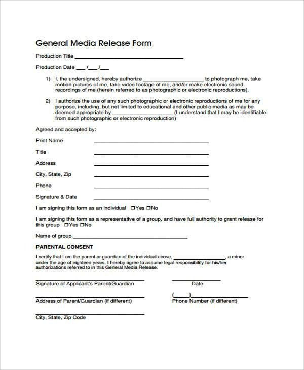 Media Release forms Template Release form Templates