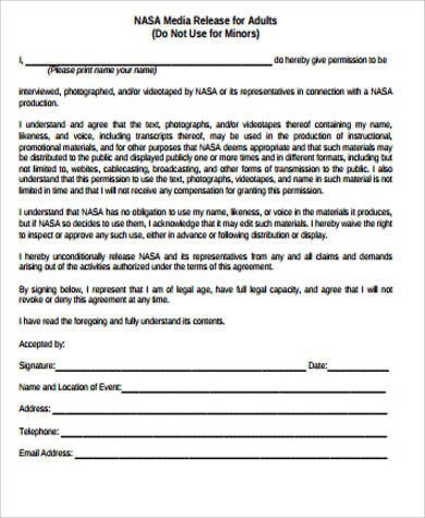 Media Release forms Template Sample Media Release form 10 Examples In Word Pdf