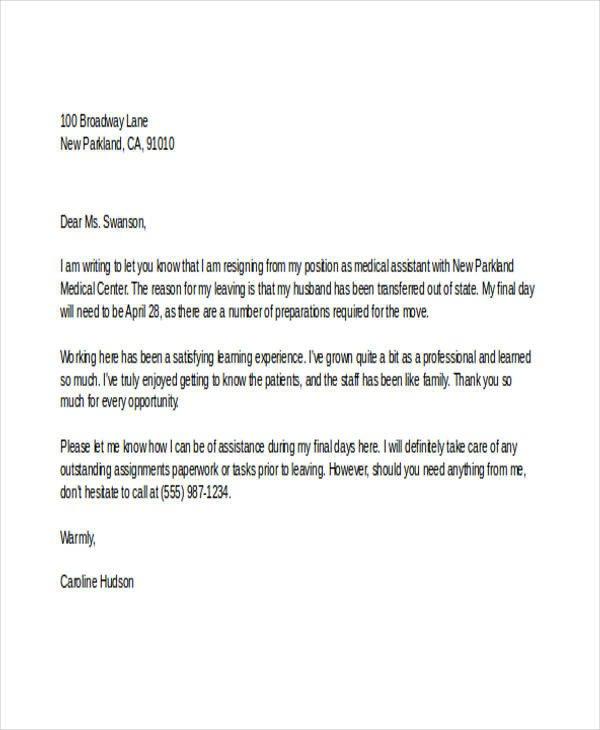 Medical assistant Resignation Letter 12 Sample Medical Resignation Letters Free Sample