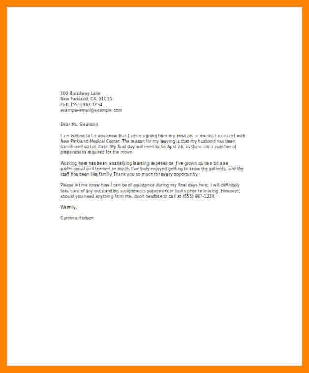 Medical assistant Resignation Letter 7 Resignation Letter for Medical Reasons