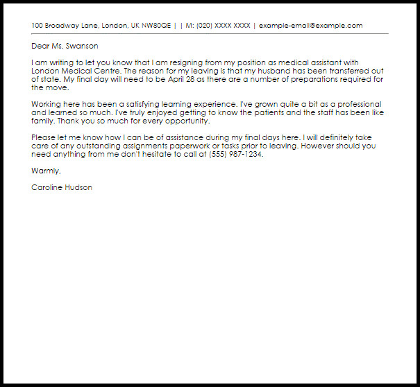 Medical assistant Resignation Letter Medical assistant Resignation Letter Example