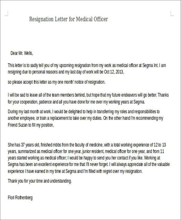 Medical assistant Resignation Letter Sample Resignation Letter for Medical 5 Examples In Pdf