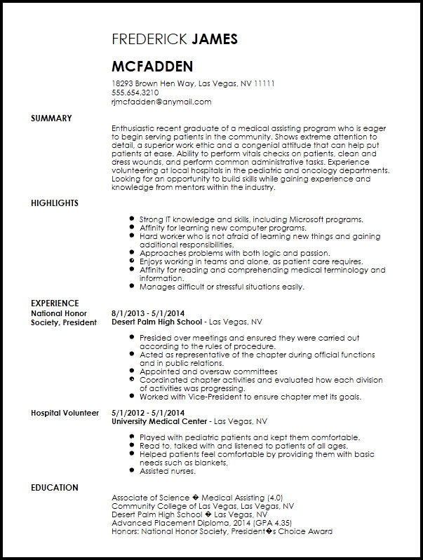 Medical assistant Resume Templates Free Entry Level Medical assistant Resume Template