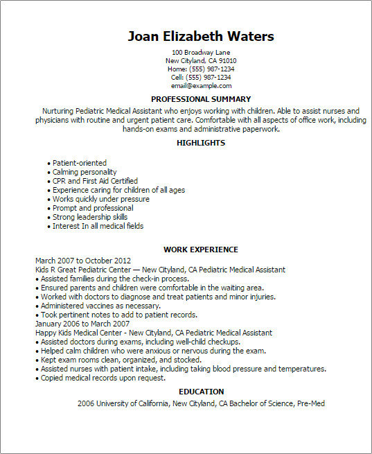 Medical assistant Resume Templates Pediatric Medical assistant Resume Template — Best Design